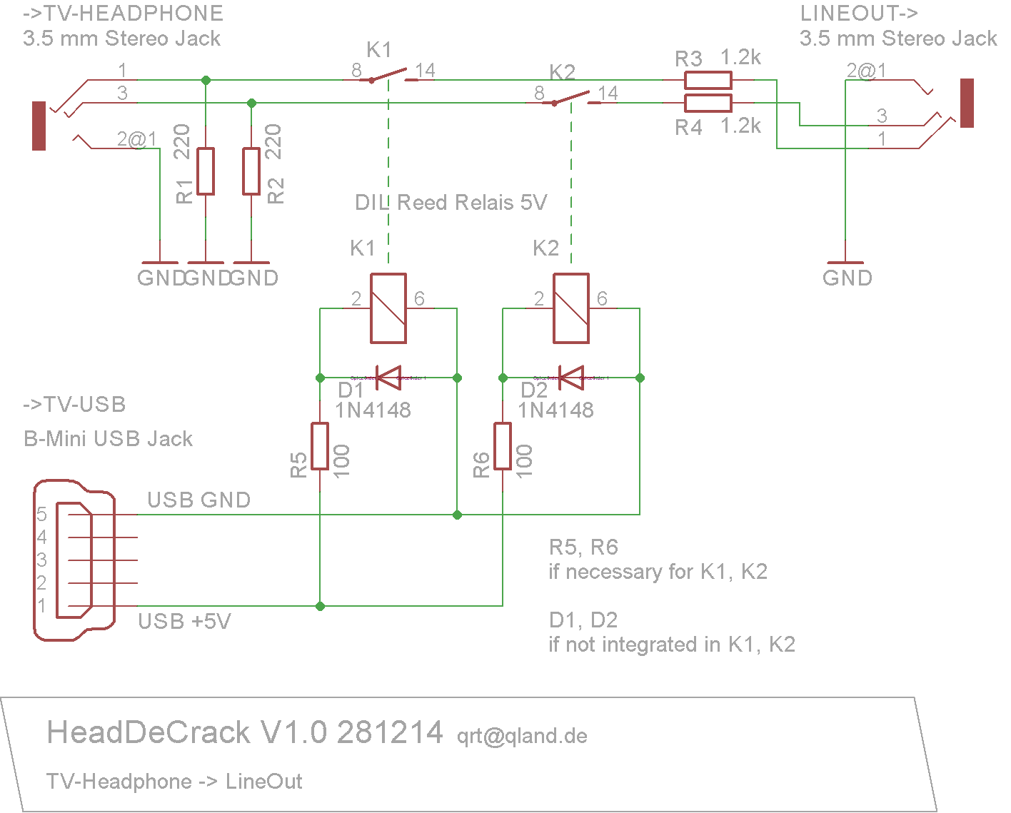 Electronic Headdecrack Usb Jack Schematic Will Prefer Cinch Connectors Here A Shielding Is Advisable But Seems Not Mandatory I Used The Bare Circuit Board At First Without Grand Disturbance